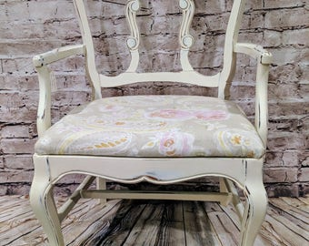 Chair - Captains Chair - Shabby Chic - White, Soft Creams and Pink
