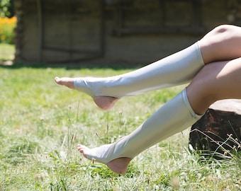 Pair of handmade Stockings, Burning man Socks, Silver or Gold Warmers, Knee Socks, Festival socks, Rave wear, Spats
