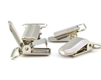 Set of 4 clips suspenders color Silver 3.3 x 2.3 cm