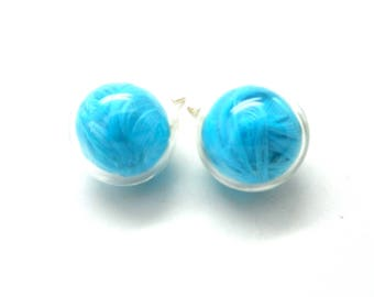 Globe earrings turquoise feather charms and co.