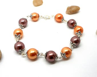 Orange and Brown beaded bracelet