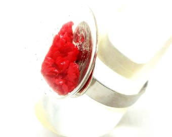 ring Silver Oval sand red globe small model