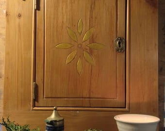 Hand-made, hand-carved wall cabinet, kitchen storage bedroom cupboard