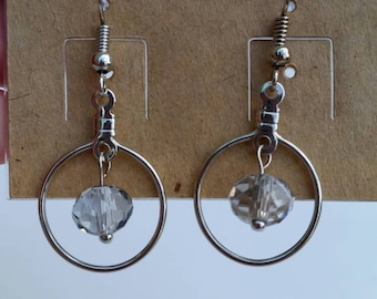 Silver Circle Dangle Earrings in Three Color Options
