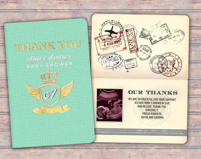 Thank you card, passport, passport invitation, travel theme, travel party, Oh the places you will go! Graduation, baby shower, birthday.