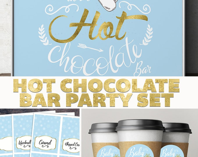 Hot chocolate bar, Baby it's cold outside, Winter baby shower .chalkboard, couple baby shower, snowflake, hot cocoa, Holiday party