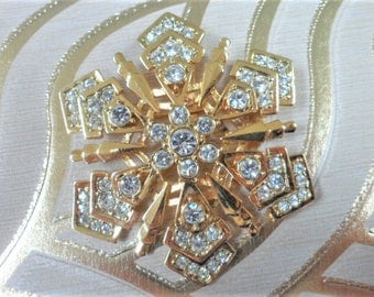 Monet Snowflake Brooch Signed Vintage Inset Crystal Gold Tone Metal Costume Jewellery Gift Ideas