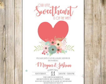 Pink LITTLE SWEETHEART Invitation, Little Sweetheart BABY Shower Invite, Floral Baby Sprinkle, Valentine Baby Shower, Floral Valentine, Vday