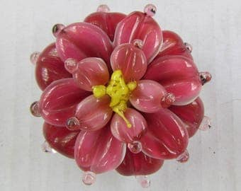 DAHLIA, fuchsia pink lampwork glass bead by Inna Kirkevich, artisan lampwork bead, handmade glass beads, beads for jewelry