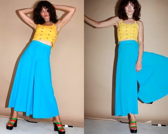 1970s Vintage Flared trousers Palazzo Pants HIgh Waisted Disco Glam S