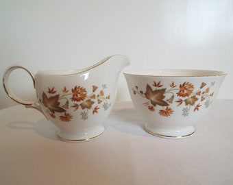 Vintage Milk Jug and Sugar Bowl With Autumn Leaves, By Colclough China. Sugar Bowl and Creamer With Autumn Flowers. Perfect For A Tea Party