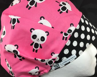 Panda Surgical Cap Scrub Hats for Women bouffant Scrub Tech Nurse Medical OR Surgery Chef Surgeon AOII Black dots Pink LoveNstitchies pandas
