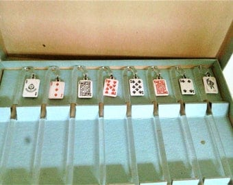 Eight Vintage Cane Shaped Glass Stir Sticks With A Playing Card Theme N I B