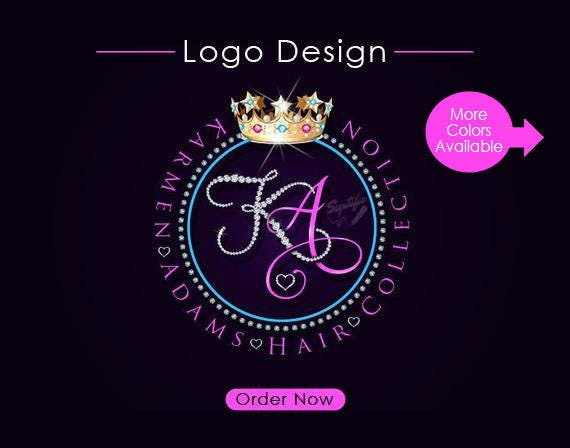 Hair Collection Logo Design, Initials Diamond Hair Extensions Logo, Bling Logo Design, Hair Business Logo with Diamond Frame and Bling Crown