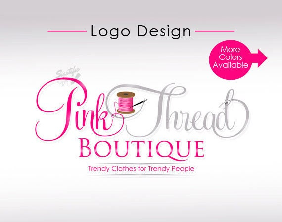 Custom boutique Logo with spool and needle, thread logo in pink and grey, fashion boutique logo design, custom business logo design