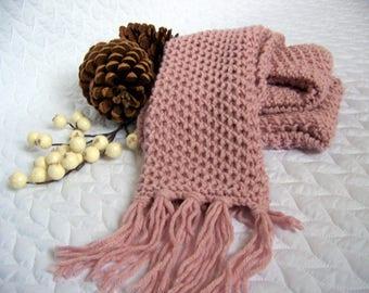 knitting pattern, Chunky Scarf, Pale Blush, knit scarf pattern, long scarf, fringe, scarf pattern, pink, wrap, wool scarf, tassels, fringe