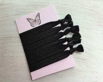 Black elastic hair ties Foe hair ties No crease Elastic ribbon hair ties Yoga ties  Gift idea ponytail holder hair accessory