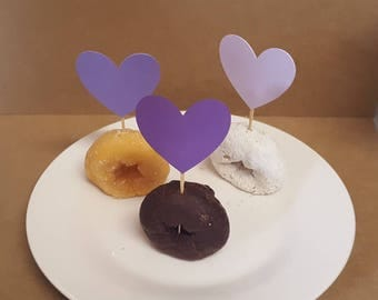 Purple Ombre heart cupcake toppers 6 pc or 12 pc