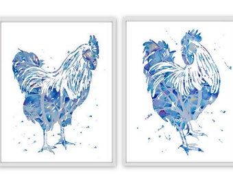 Print SET of 2 Art Print - Rooster Art, Rooster Print, Watercolor Rooster, Rooster, Rooster Illustration, Farm Animal, Animal Painting