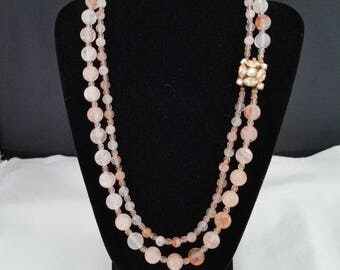 """20""""Vintage Italian 1950's clasp with peach agate and Czech glass beads"""
