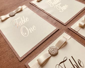 Stunning Handmade rose gold table numbers 1-10 glitter & foil 7x5 inches
