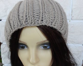 Hand Knitted Women's Ribbed Camel Coloured Winter Hat With A Cream Faux Fur Pompom - Free Shipping