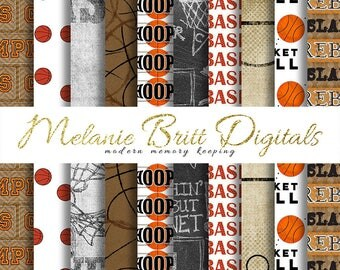 BASKETBALL digital paper, hoops, rebound, slam dunk, teammates, basketballs, basketball game, printable pdf, INSTANT DOWNLOAD
