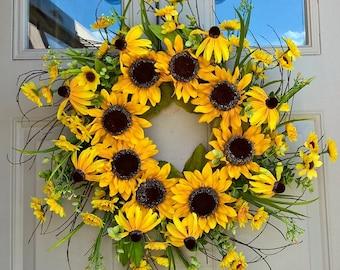 Sunflower wreath for summer, autumn, fall