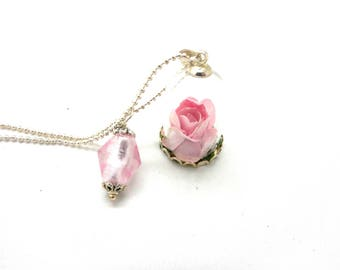 Pink Silver Flower glass globe necklace