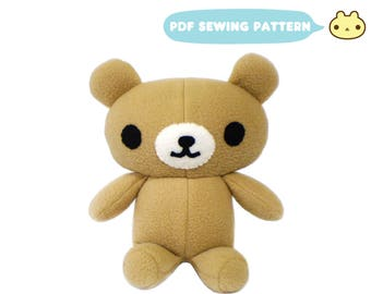 Bear Plush Sewing Pattern, Bear Sewing Pattern, DIY Bear Stuffed Animal, Stuffed Bear Pattern, Toy Teddy Bear, Stuffed Teddy, Bear Pattern