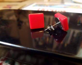 Handmade Red Tile Post Earrings