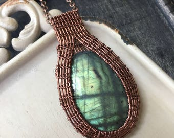 Green Labradorite Wire Wrapped Necklace
