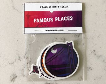 Travel Sticker Pack, Famous Places Sticker Pack, Travel Sticker Set, Monthly Sticker Pack, San Francisco, Pyramids, Space Needle, Big Ben
