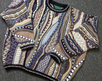 "Vintage Unique ""Coogi"" Style Cosby Hip Hop Cable Knit Cotton Sweater by Tundra, Size 2XL, Multi-Color - Black/Purple/Brown/White/Blue"