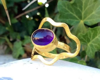 20% Purple Amethyst Ring, Gemstone Ring, Oval Ring, Gold Ring, February Birthstone Ring, Sterling Silver Ring, Statement Ring, OOAK Ring.