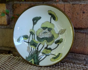 Japanese Porcelain Ware Bowl / ACF Decorated in Hong Kong / Hand Painted / Encased In Brass / Green Floral Decor / Candy Dish / Catchall
