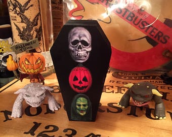 Wood coffin box, Halloween III Season of the Witch Masks, decor