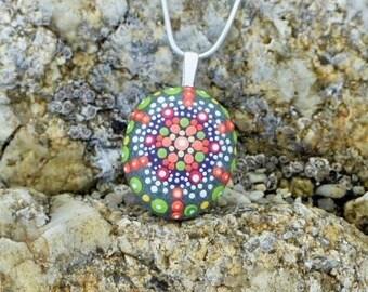Roller shades Orange Mandala pendant, hand painted