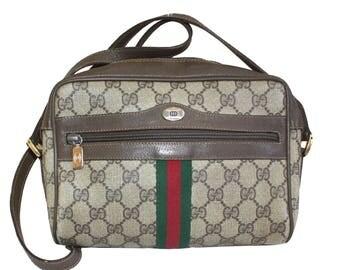 GUCCI Vintage Brown & Beige GG Pattern Crossbody Shoulder Bag