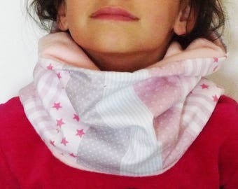 Neck Snood child girl cotton geometric sky/pink/gray fleece light pink
