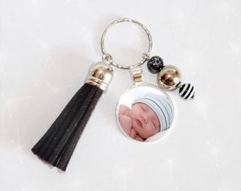Jewelry bag/key photo of your choice of baby child personalized black tassel