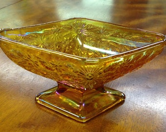 Vintage Amber Footed Candy Dish, Indiana Glass Company, Carnival Glass, Amber Iridescent Bowl