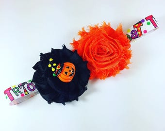 Trick or treat headband, Halloween headband, pumpkin headband, baby girl headband, newborn photo prop, toddler headband