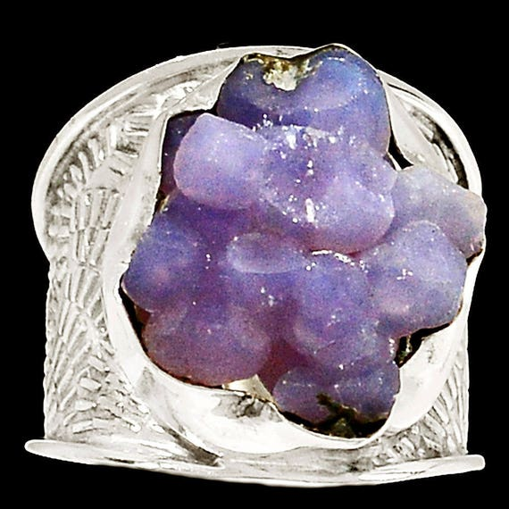 Grape Agate* Manakarra Botryoidal Crystal Silver Ring s.8