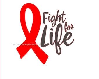 Fight For Life CHD Awareness Ribbon Vinyl Decal