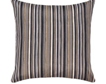 Gray Gold Black Ivory Outdoor Pillow Cover, Grey Black Stripe Pillow, Outdoor Pillow Cover, Cala Stripe Slate Pillow, Grey Outdoor Cushion