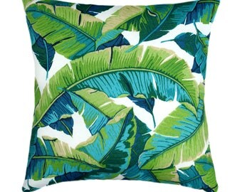 Leaf Green Outdoor Pillow Cover, Balmoral Opal Pillow Cover In Teal,  Turquoise, Kiwi