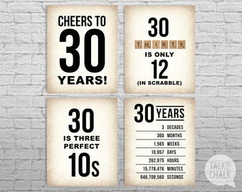 30th Birthday PRINTABLE Sign Pack, 30th Birthday DIGITAL Posters, Cheers to 30 Years Sign, 30th Birthday Decorations, Instant Download