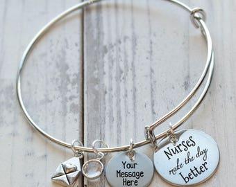 Nurses Make the Day Better Wire Adjustable Bangle Bracelet