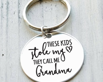 These Kids Stole My Heart They Call Me Grandma Personalized Key Chain - Engraved